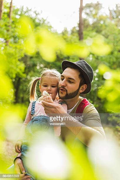 Father and daughter with blowball in forest