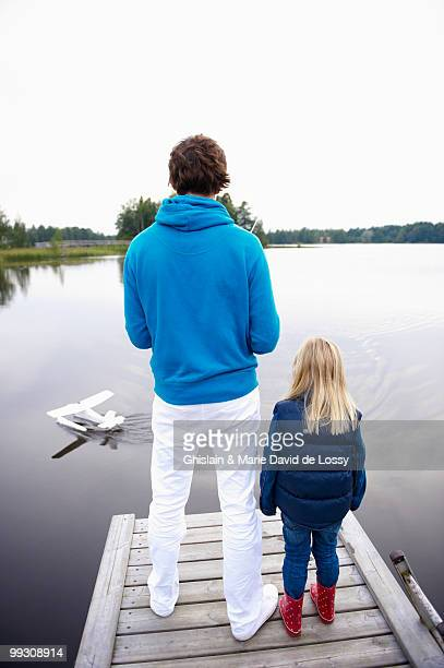 Father and daughter with rc plane