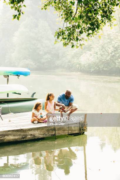 Father and daughters fishing in lake