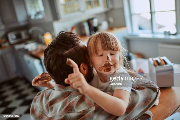 father and daugther - nutella stock pictures, royalty-free photos & images