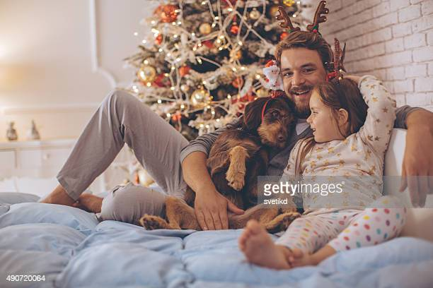 Father and his cute daughter in front of christmas three.