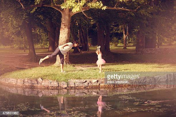 Father and his daughter ballerina