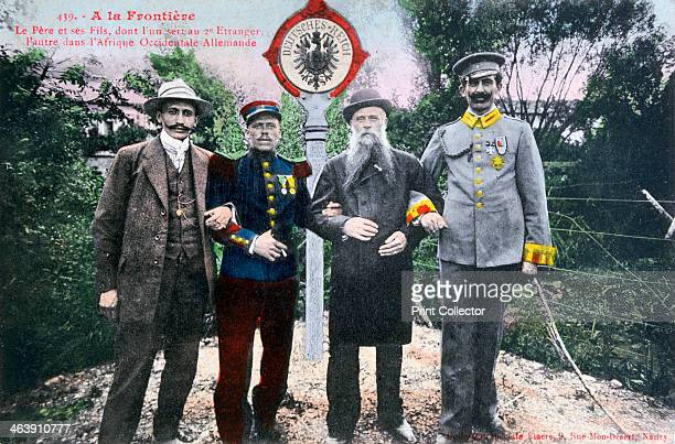 Father and his sons at the French/German border 20th century One of his three sons served in the French Foreign Legion another in the German army in...