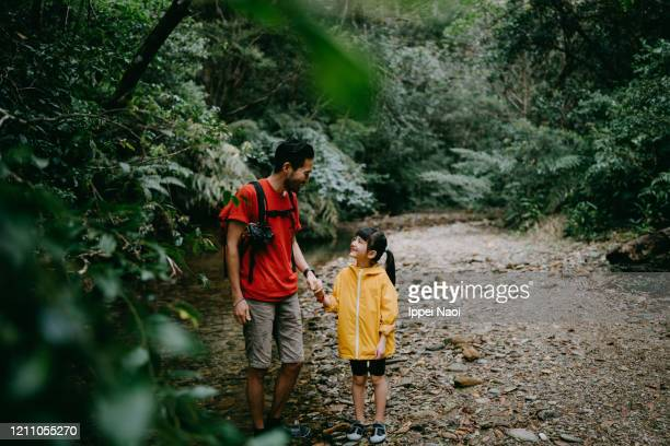 father and little girl hiking in forest river, okinawa, japan - reality fernsehen stock pictures, royalty-free photos & images