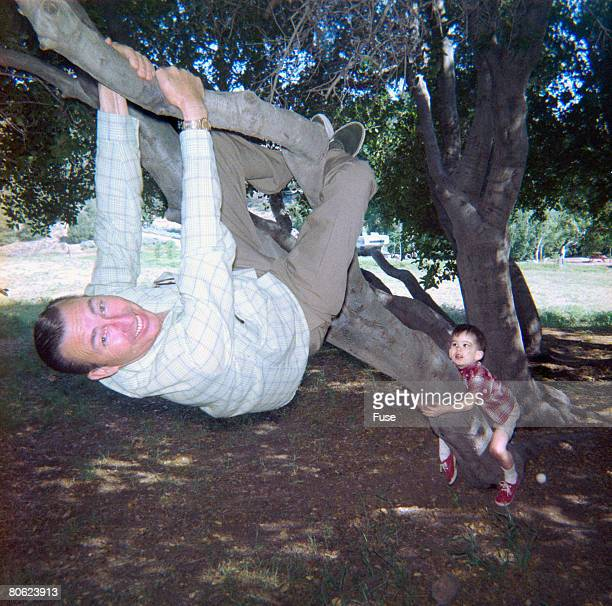 father and little son climbing on tree - 1960 stock pictures, royalty-free photos & images