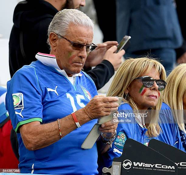Father and mother of Andrea Barzagli look on prior to the UEFA Euro 2016 quarter final match between Germany and Italy at Stade Matmut Atlantique on...