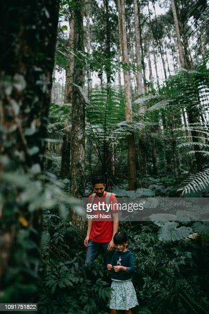 Father and preschool daughter hiking in jungle