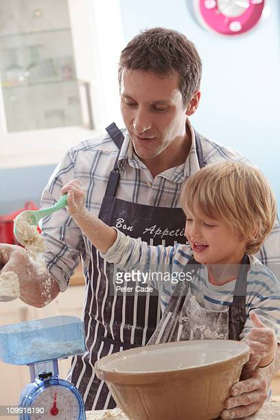 father and so baking together