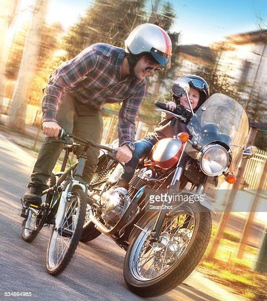 father and son and stange race - crazy dad stock photos and pictures