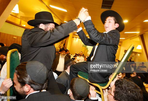 Father and Son at Chabad-Lubavitch Bar Mitzvah Celebration