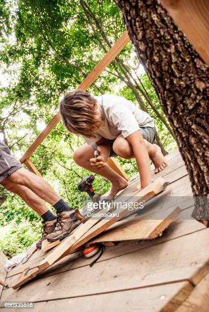 Father and Son Building a Tree House Together