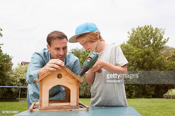 Father and son building up a birdhouse