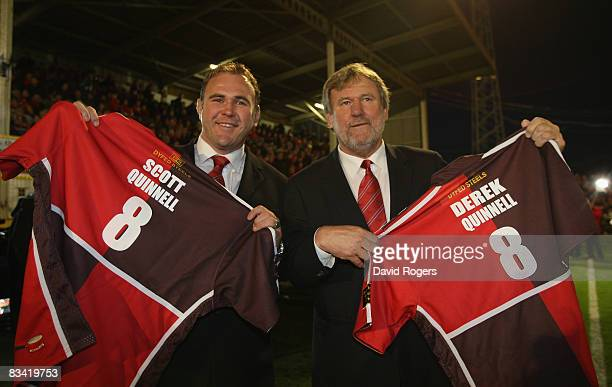 Father and son Derek Quinnell and Scott Quinnell, who captained the Scarlets pictured at the final match at Stradey Park during the EDF Energy Cup...