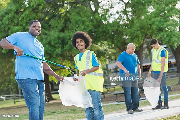 Father and son doing community service project together