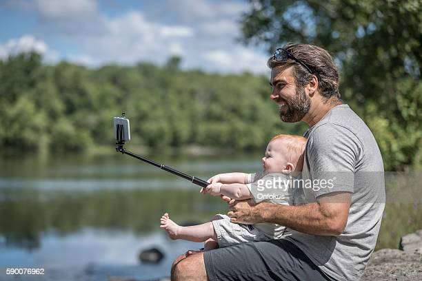 Father and Son Doing Selfie