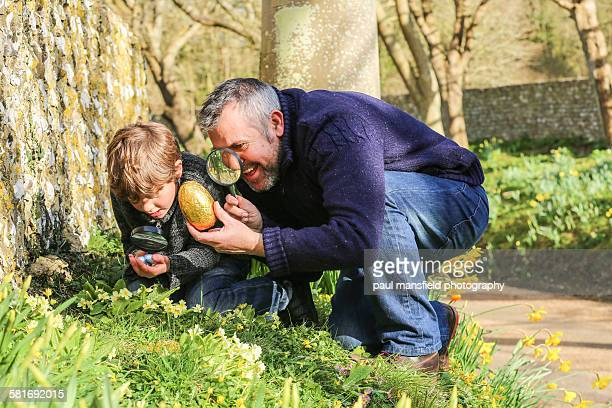 Father and son Easter Egg hunting