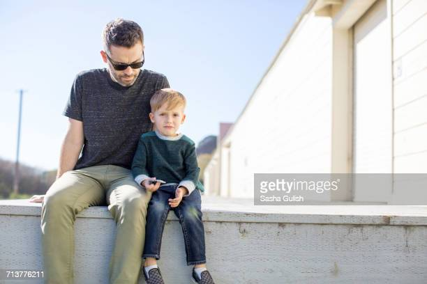 Father and son enjoying day outdoors