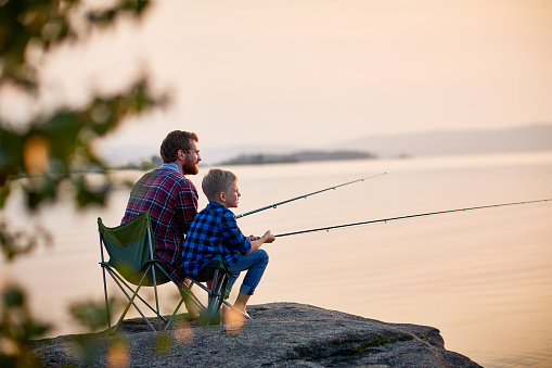 Father and Son Enjoying Fishing Together 684090194