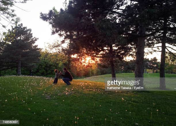 Father And Son Enjoying In Park During Sunset