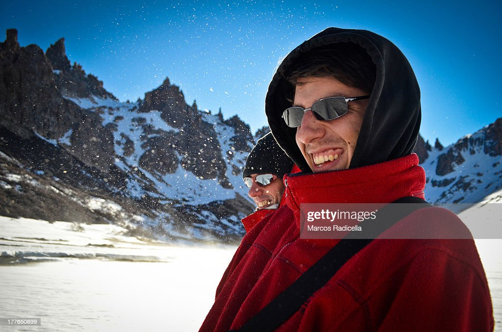 Father and son enjoying Patagonia : Stock Photo