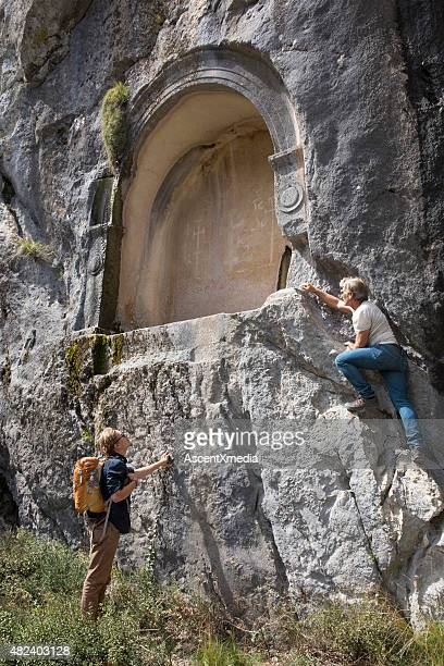 Father and son explore site of ancient Greek ruin