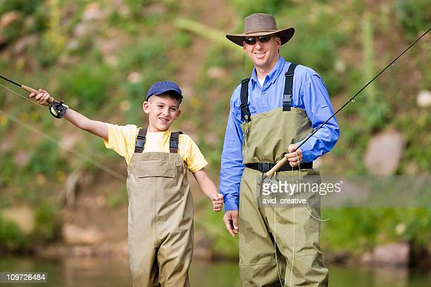 Father and Son Fly Fishing Together