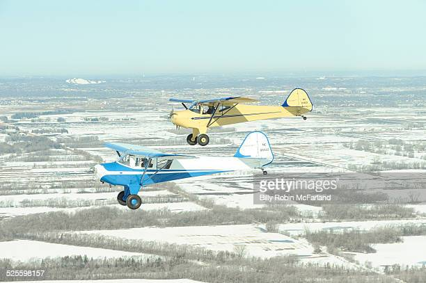 Father and son flying in tandem Restored 1946 Taylorcraft planes Eagan MN April 2014