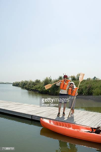 Father and son going canoeing
