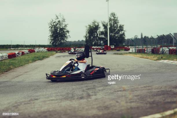 father and son go-karts - go cart stock pictures, royalty-free photos & images