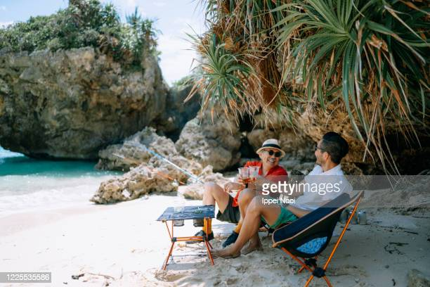 father and son having a toast at beach campsite - ippei naoi stock pictures, royalty-free photos & images