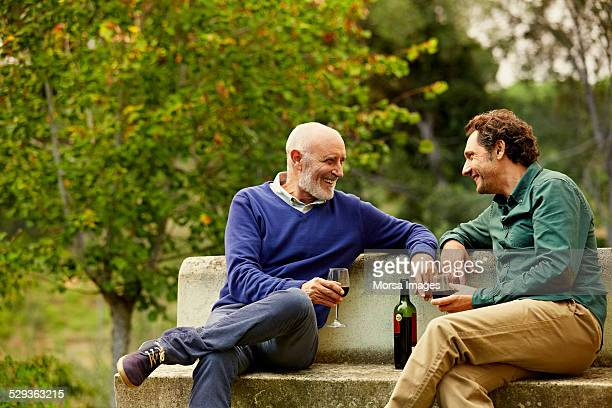 Father and son having red wine on park bench
