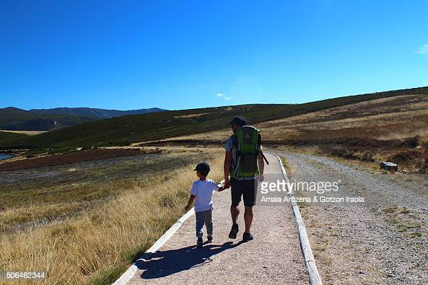 Father and son hiking in Sanabria Natural Park