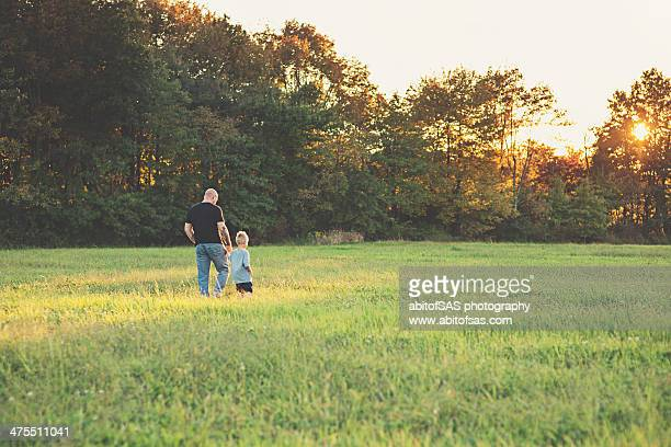 father and son holding hands in a field - mid distance stock pictures, royalty-free photos & images