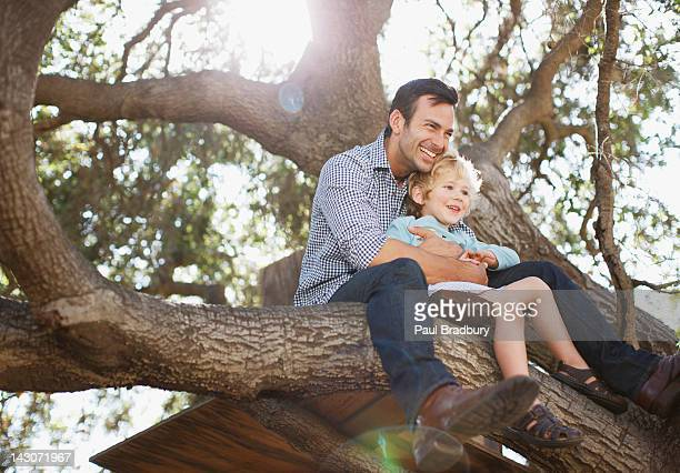 father and son hugging in tree - protection stock pictures, royalty-free photos & images