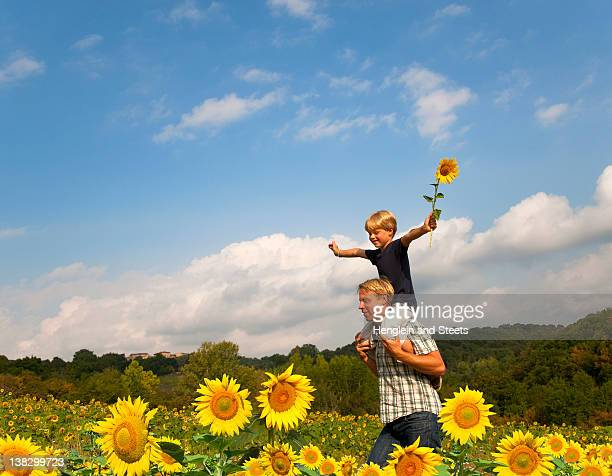 Father and son in field of flowers