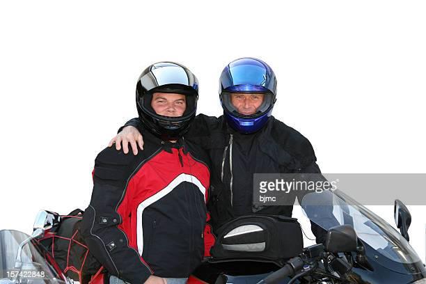 Padre e hijo en motocicleta engranaje (Aislado en blanco