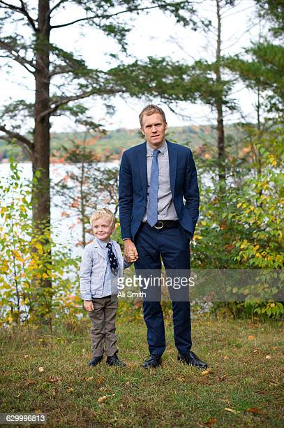 Father and son in suits