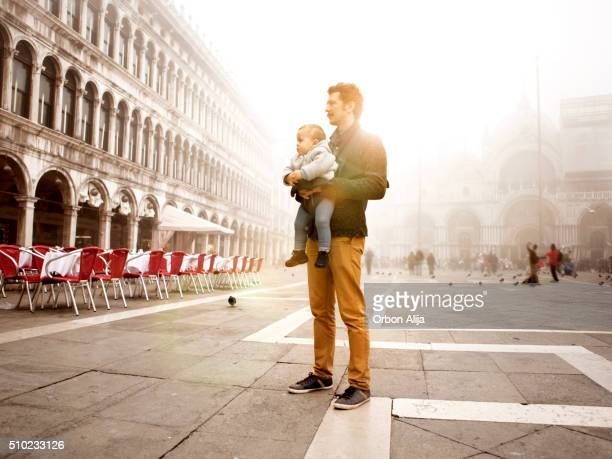 Father and son in Venice