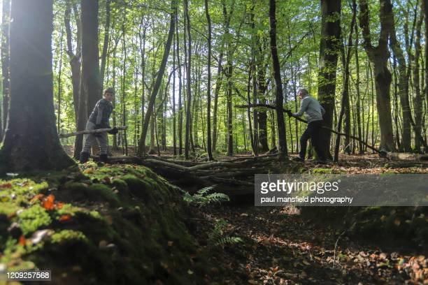 father and son making bridge in forest - makeshift stock pictures, royalty-free photos & images