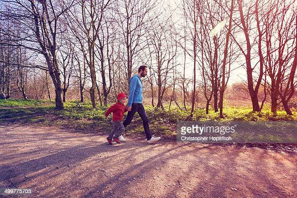 Father and son on morning walk