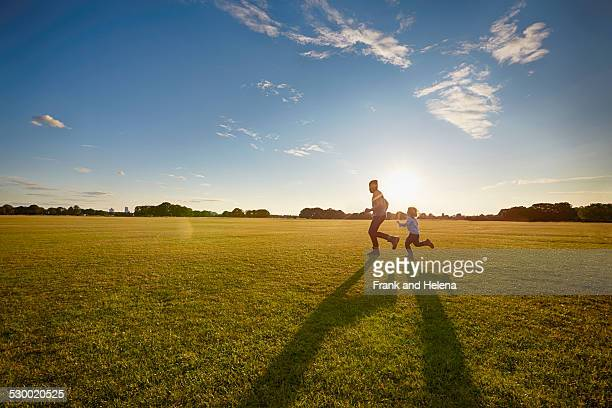 Father and son out in the park