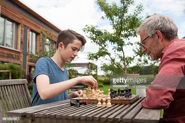 father and son playing chess in garden - chess bildbanksfoton och bilder