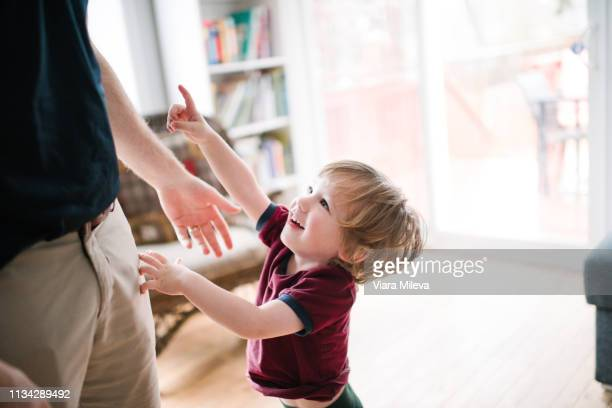 father and son playing - family with one child stock pictures, royalty-free photos & images