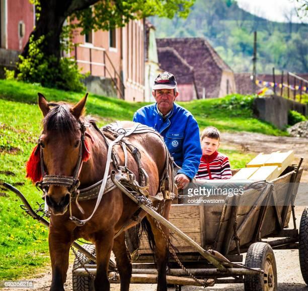 pai e filho a montar no cavalo e carrinho em romeno aldeia de copsa mare, transilvânia, romênia - europa oriental - fotografias e filmes do acervo