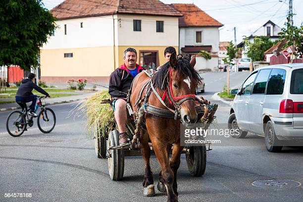 Father and son riding horse and cart in Rasnov, Romania