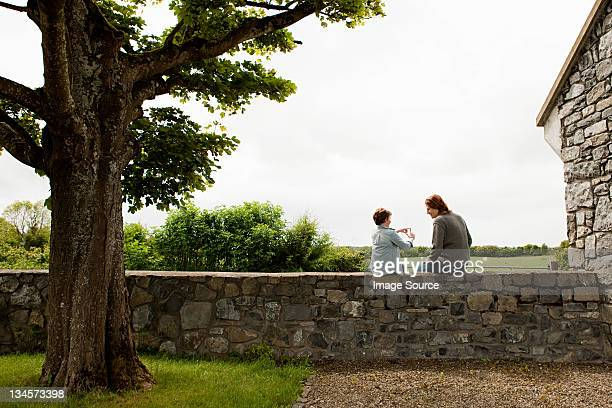 Father and son sitting on stone wall