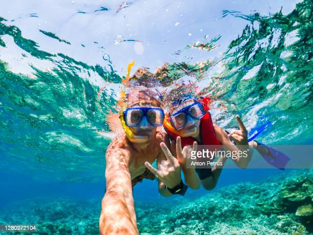 father and son snorkeling near the coral reef. vacation at sea - holiday stock pictures, royalty-free photos & images