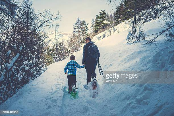 Father and Son Snowshoeing