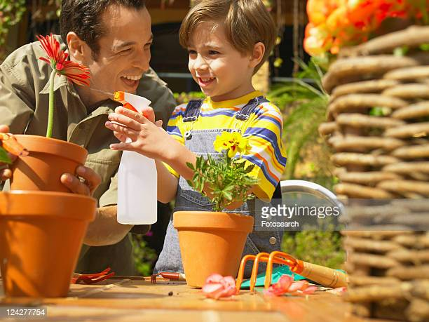 Father and son spraying water on flower (low angle view)