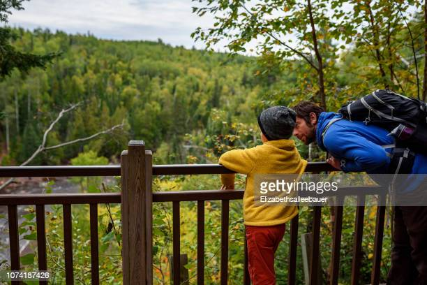father and son standing on a bridge looking at view, lake superior provincial park, united states - lake superior provincial park stock pictures, royalty-free photos & images